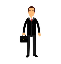 smiling businessman character in black suit vector image