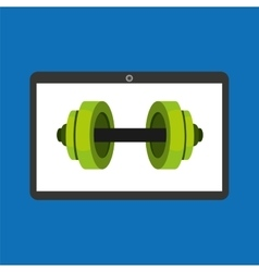 Sport laptop app concept barbell vector