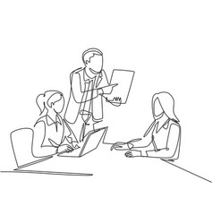 startup meeting concept one single line drawing vector image