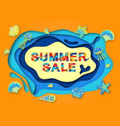 Summer sale paper cut background for banner vector