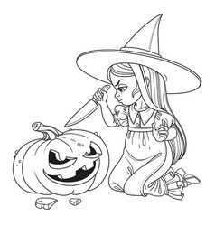 Sweet girl in witch costume sitting on the floor vector