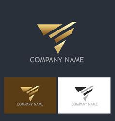 triangle abstract arrow gold logo vector image