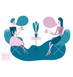 two young women sitting at table drinking tea or vector image