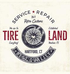 vintage label design tire service emblem vector image