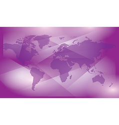Violet abstract background with map of world vector