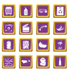 waste and garbage icons set purple vector image