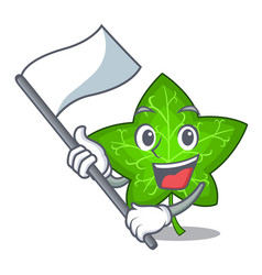 with flag mascot cartoon beautiful ivy leaf plant vector image