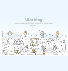 Work with clients concept flat line art vector