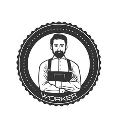 working man for logo template vector image