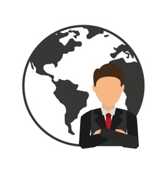World planet with businesman vector