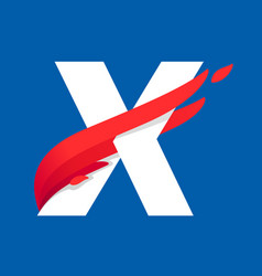 X letter logo with fast speed red bird wing vector
