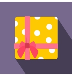 Yellow gift box with pink ribbon flat icon vector image