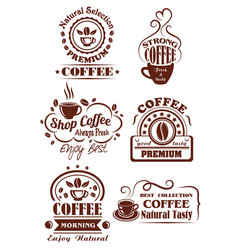 coffee cup brown icon for cafe label design vector image vector image