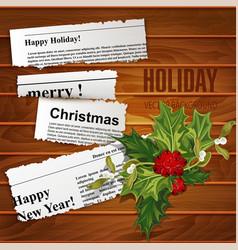 creative christmas background scraps of newspaper vector image vector image