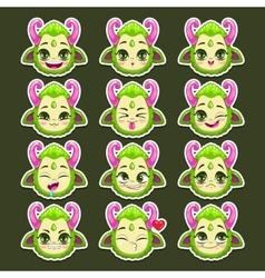 Funny cartoon green monster emotions vector image vector image