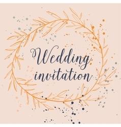 Hand drawn splash design wedding invitation with vector image vector image