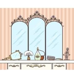 Retro dressing table vector image