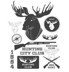 Set of vintage outdoors with a deer labels badges vector image vector image