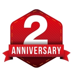 Two years anniversary badge with red ribbon vector image vector image