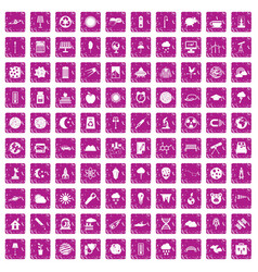 100 moon icons set grunge pink vector