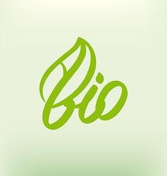 Bio logo eco label natural product sign organic vector image vector image