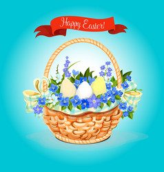 easter eggs and flowers bunch basket poster vector image vector image