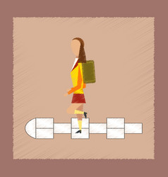 flat shading style icon school girl hopscotch vector image