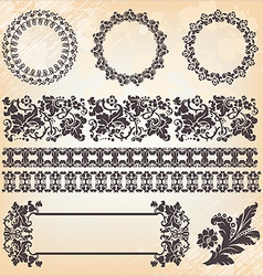 set of ornate page decor elements borders banner vector image vector image
