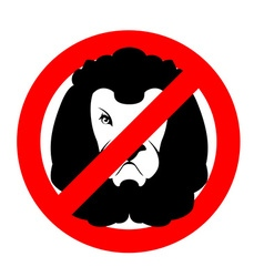 Stop lion Prohibited wild animal Emblem against vector image vector image