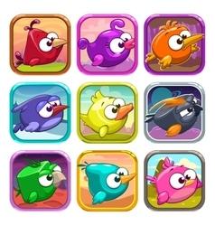 Funny cartoon birds app icons vector image vector image