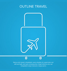 icon airplane and suitcase the concept of travel vector image