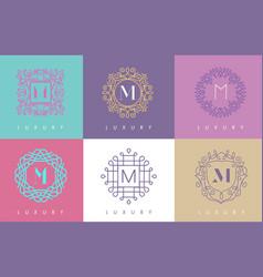 M letter pastel floral monogram lines logo design vector