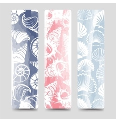 Ocean bookmarks collection with sea shells vector image vector image