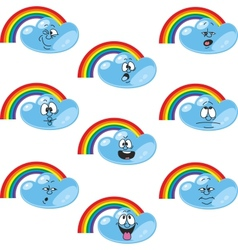 Weather cartoon rainbow set vector image