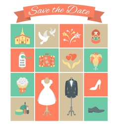 Wedding Icons Square Set 2 vector image vector image