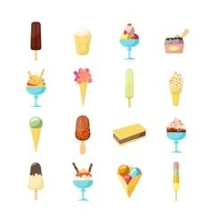 Cartoon Ice Cream Icon Set vector image vector image
