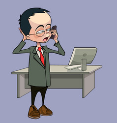 cartoon man talking on the phone standing vector image