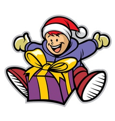 happy kid with a christmas gift vector image vector image