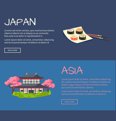 set of asia and japan flat web banners vector image vector image