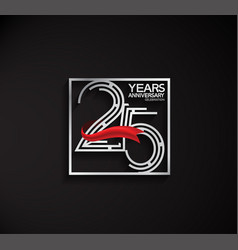 25 years anniversary logotype with square silver vector