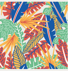 abstract color tropical leaves seamless pattern vector image