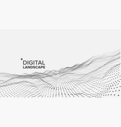 Abstract landscape particle wireframe big vector