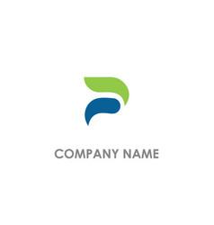 abstract p initial company logo vector image