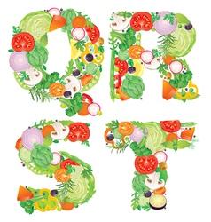 Alphabet vegetables qrst vector