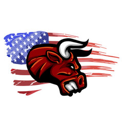 angry bull logo symbol american flag vector image