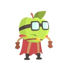 Apple in glasses wearing cape superhero costume vector