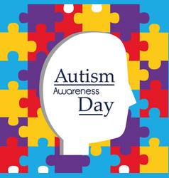 Autism awareness day profile head and puzzles vector