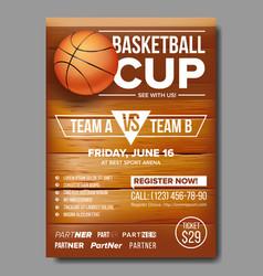 Basketball poster ball sport vector