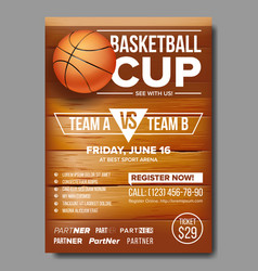 Basketball poster basketball ball sport vector