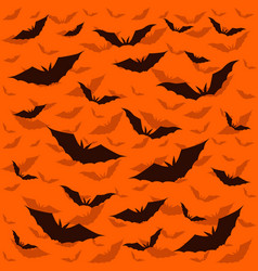 bat dark on orange background vector image